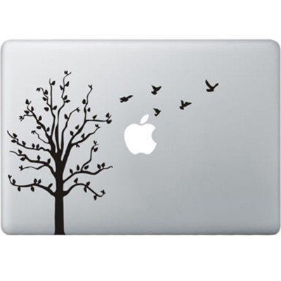 Boom met Vogels MacBook Sticker Zwarte Stickers