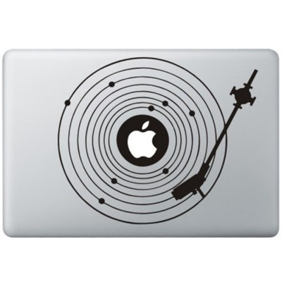 Platenspeler MacBook Sticker Zwarte Stickers