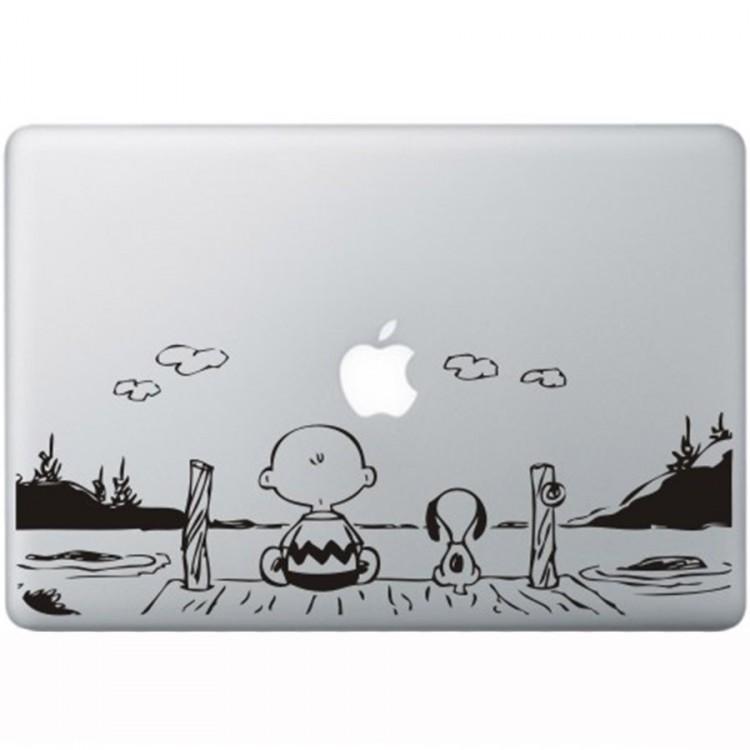 Snoopy en Charlie Brown MacBook Sticker Zwarte Stickers