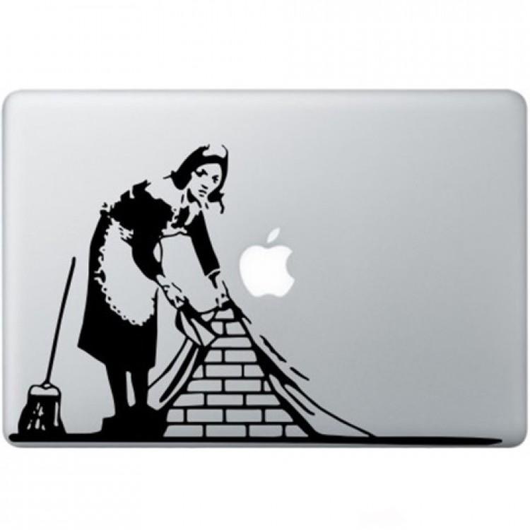 Banksy Maid In London Macbook Sticker Zwarte Stickers