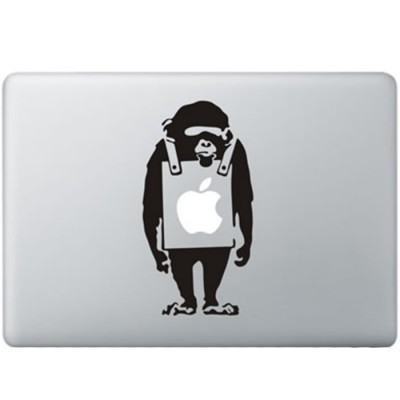 Banksy Verdrietige Aap MacBook Sticker Zwarte Stickers